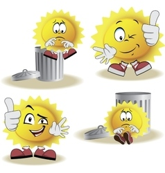 Live sun with face arms and feet vector