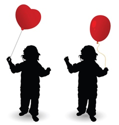 Child holding red balloon heart silhouette vector