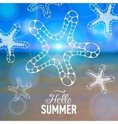 Summer card with sea background and designed text vector