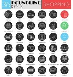 Shopping circle white black icon set vector