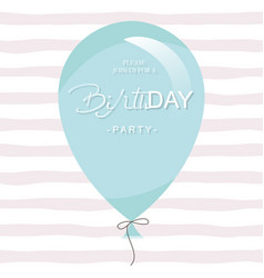 birthday party invitation card template blue vector image vector image