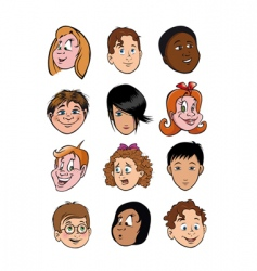 boy and girl faces vector image vector image