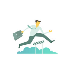 Businessman run jumps overcoming the barrier vector