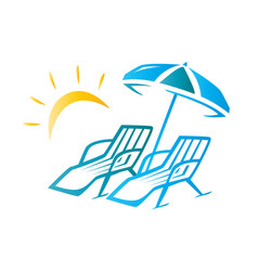 chairs and umbrella vector image vector image
