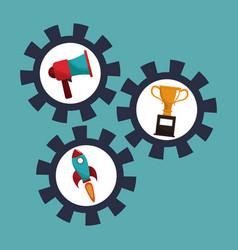 Digital marketing gears cooperation vector