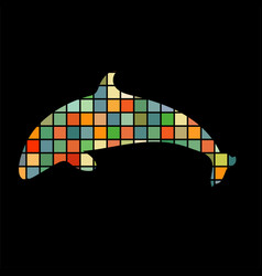 dolphin symbol friendship color silhouette animal vector image
