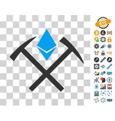 Ethereum mining hammers icon with bonus vector