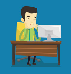 exhausted sad employee working in office vector image