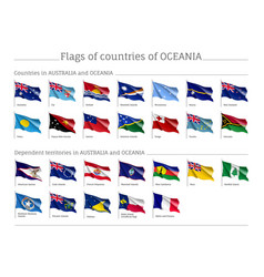Flags australia and oceania realistic style big vector