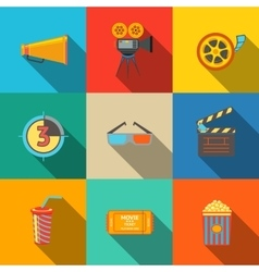 Flat modern cinema movie icons set - projector vector