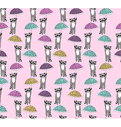 Flying racoons pattern vector