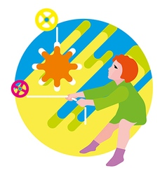 Girl raises the sun vector image vector image