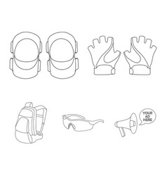 Gloves elbow pads goggles cyclist backpack vector