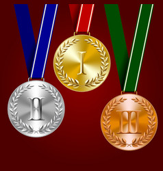 gold silver and bronze medals with laurel wreaths vector image vector image