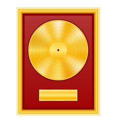 gold vinyl disk in frame stock vector image vector image