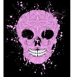 Grunge skull on black background vector