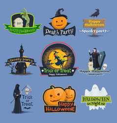 Halloween trick or treat holiday icons vector