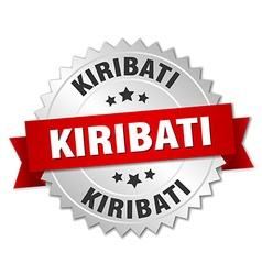 Kiribati round silver badge with red ribbon vector image vector image