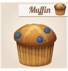 Muffin with blueberry Detailed Icon vector image vector image