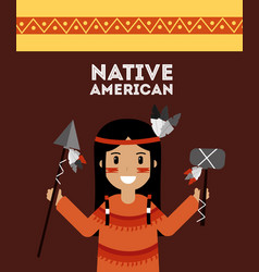 Native american indian holding spear and tomhawk vector