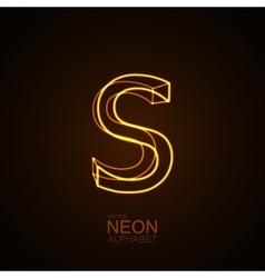 Neon 3D letter S vector image vector image