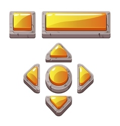 Orange cartoon stone buttons for game vector