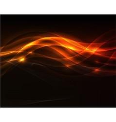 Orange light wave on black background vector