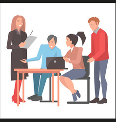 people resolving issues on computer in startup vector image vector image