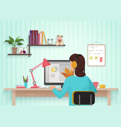 Pretty female designer working with colors at home vector image vector image