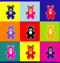 Teddy bear sign pop-art vector