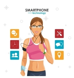 Woman smartphone sport wearable technology vector