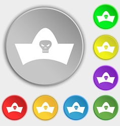 Black pirate hat with skull and crossbones icon vector
