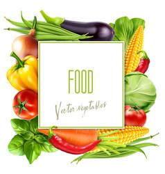 Menu with vegetables and square card for text vector