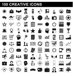 100 creative icons set simple style vector image