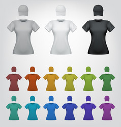 Plain female t-shirt and cap template vector