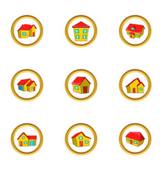 city house icon set cartoon style vector image