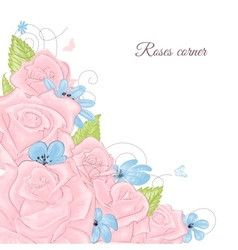 Pink roses bouquet corner decoration over white vector image