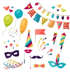 Celebration carnival set of icons and objects vector
