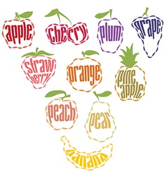 Set of fruit labels - 10 items vector