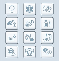 Diabetes icons - TECH series vector image