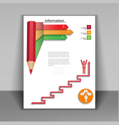 Business booklet with arrows and pencil vector