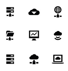 Big data 9 icons set vector