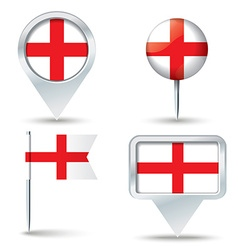 Map pins with flag of england vector