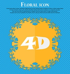 4d sign icon 4d-new technology symbol floral flat vector