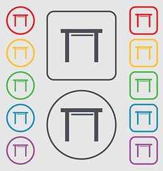 Stool seat icon sign symbols on the round and vector