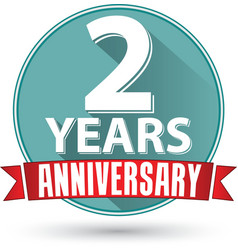 Flat design 2 years anniversary label with red vector