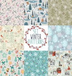 set of winter patterns vector image