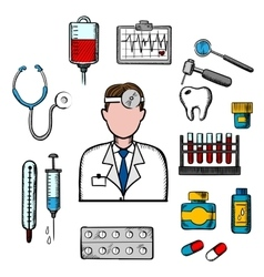 Doctor therapist with medical icons vector
