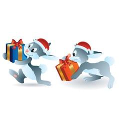 christmas bunny vector image