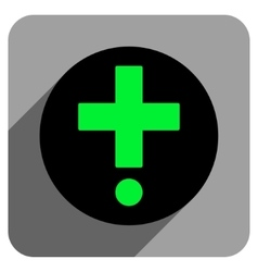 Pharmacy flat square icon with long shadow vector